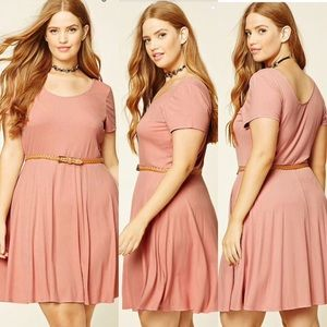 Plus Size Pink Belted F21 Forever 21 Dress 1X 2X